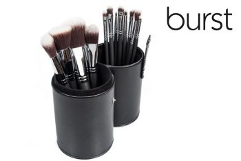 Makeup Brushes South Africa, Johannesburg, Gauteng, 12 Piece synthetic Set incl Tube Holder (black stitching) online makeup brushes